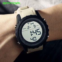 SANDA Men Watches Top Brand Luxury Military Sports Watches Men Electronic Watches Men LED Digital Watches Male Wristwatches 369 cheap 24inch Resin Buckle 3Bar 50mm Rubber 14mm Hardlex Stop Watch Back Light Shock Resistant LED display Auto Date Chronograph
