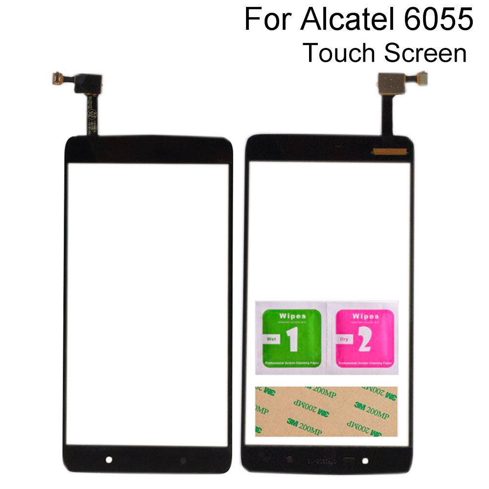 <font><b>Touch</b></font> Screen Digitizer Panel For <font><b>Alcatel</b></font> <font><b>One</b></font> <font><b>Touch</b></font> <font><b>Idol</b></font> <font><b>4</b></font> <font><b>6055</b></font> OT6055 <font><b>Touch</b></font> Screen Sensor Mobile Phone 3M Glue Wipes image