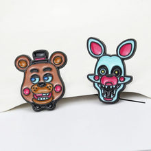 Beş Nights freddy'nin broş ve emaye Pin karikatür Anime Freddy Bonnie Chica ve Foxy siyah nikel yaka Pin(China)