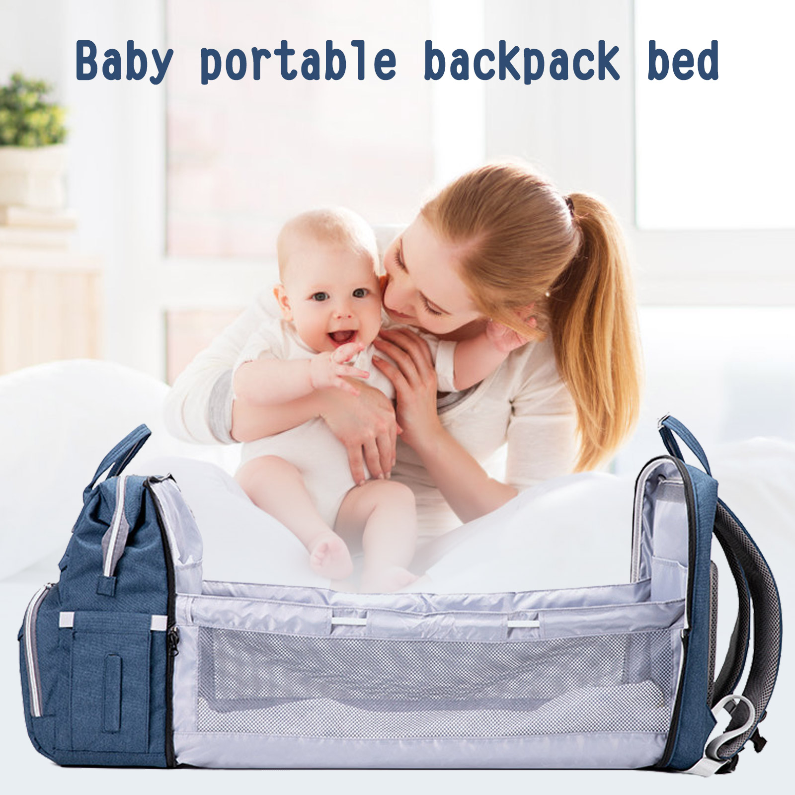 Multifunction Waterproof Mum Backpack Portable Large Capacity Diaper Bag with Changing Baby Bed Crib and Mosquito Net