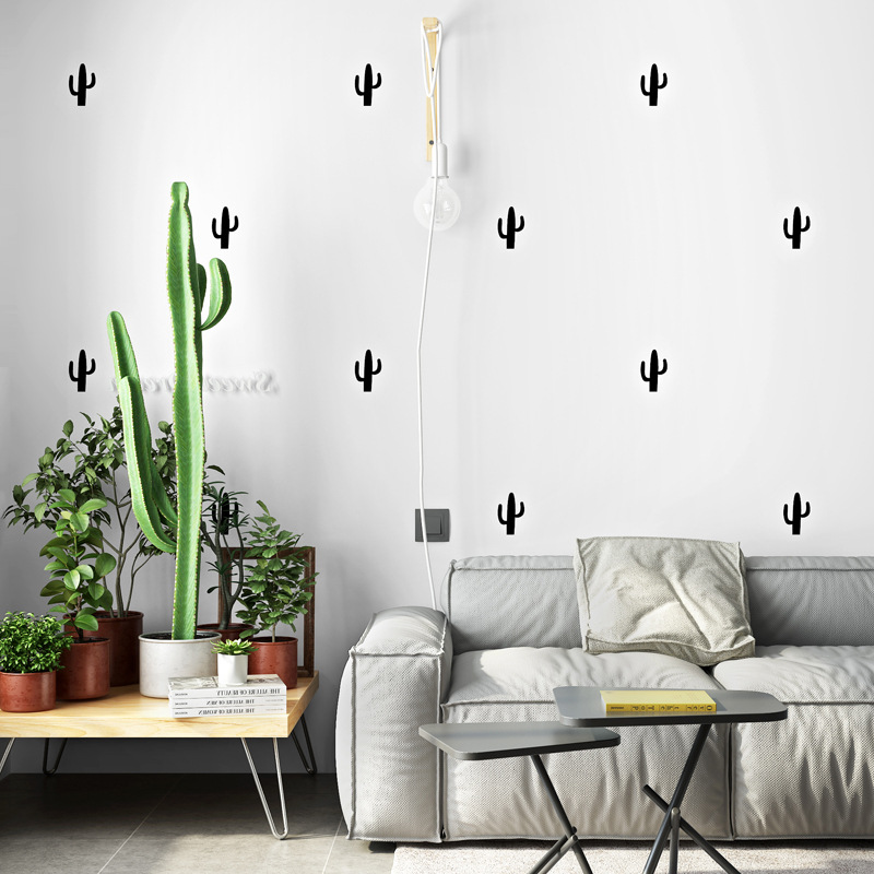 Nordic Wallpaper INS Modern Minimalist Geometry Cactus Living Room Bedroom TV Backdrop Wall Online Celebrity Wallpaper