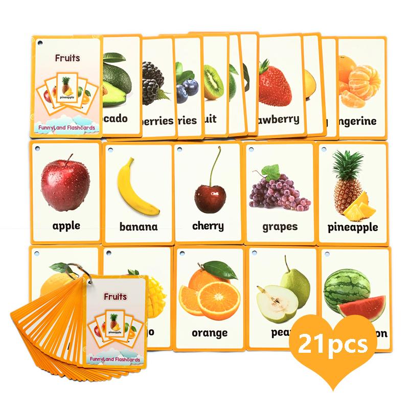 21pcs Fruit English Word Cards Cognitive Flash Cards For Children Early Learing Educational Toys Memory Game Kids Gifts
