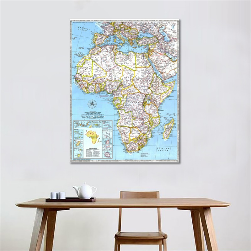 60x90cm World Map Wall Poster Fine Canvas Wall Decor Painting HD Waterproof Map Of Africa In 1990 Edition For Home Office Decor