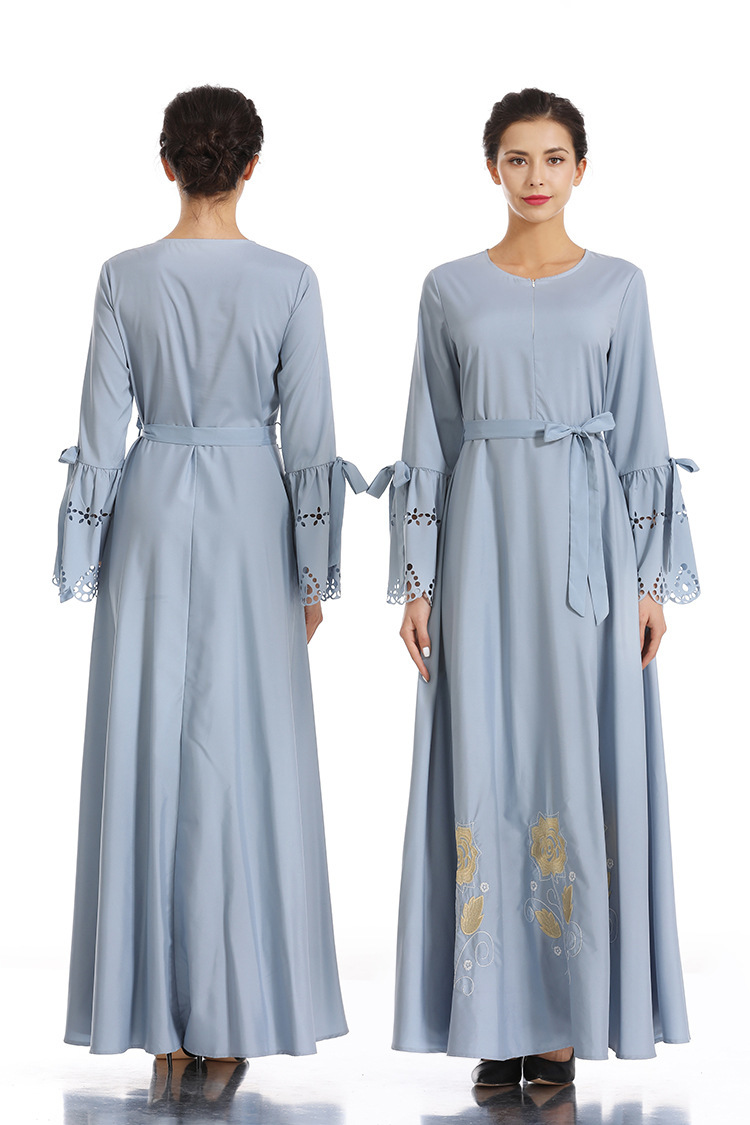 Brodé hijab robe Nation musulmane robe complète jupe Longuette Ash robe femme dinde elbise indonésie marocain eau abaya - 4
