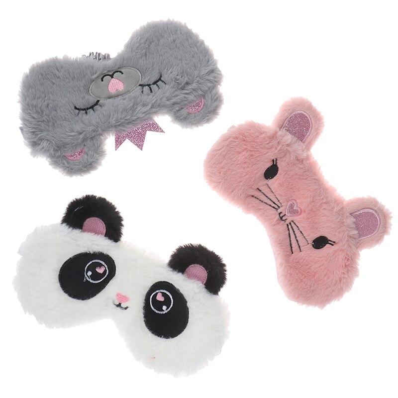 Panda Eye Mask Plush Animal Mouse Bear Eye Cover Cute Plush Eye Mask Girl Toy Suitable For Travel Home Party Eyeshade Fashion
