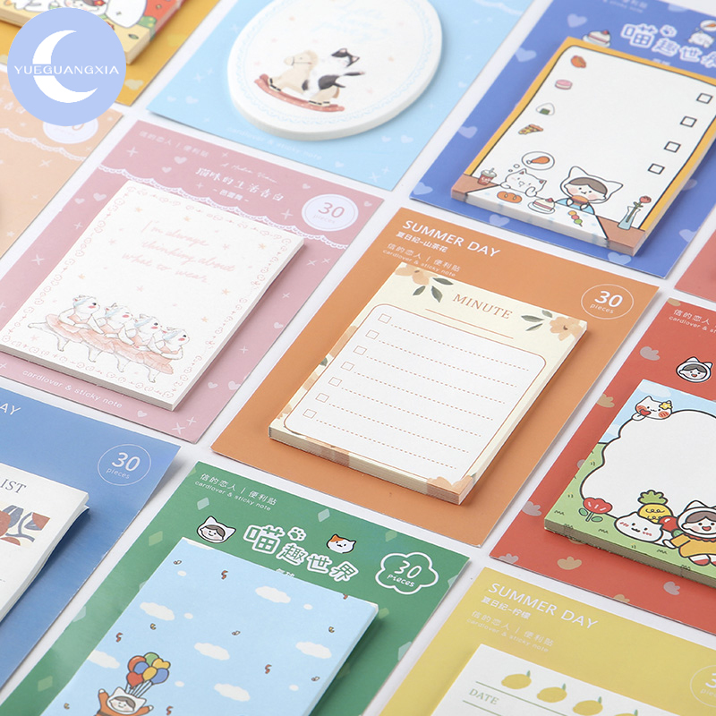 YueGuangXia Funny Cardlover Cat Check List Notes Stationery Self-Adhesive Pepalaria Office School Supplies 30pcs 12 Design
