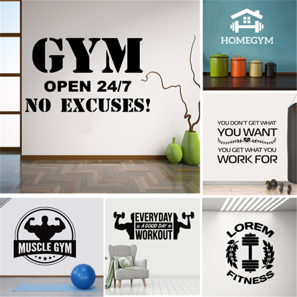 Hot Sale Gym Decal Frase Wall Stickers For Gym Fitness Room Motivation Wall Art Decals Sticker Vinyl Mural Pared Gym Hot Sale A215 Cicig