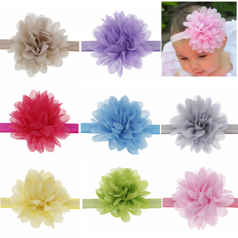 10cm Baby Headband Chiffon Flowers Boutique DIY Flower Girls Headbands Elastic Hair Band  Headwear Children Hair Accessories