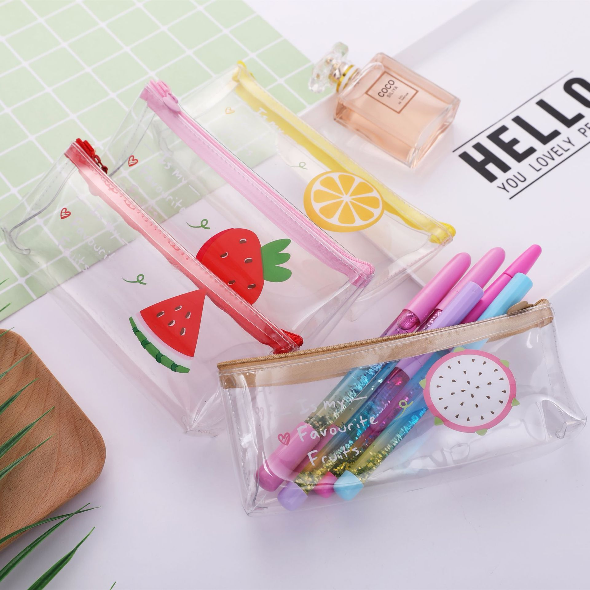 Golden Bean Transparent Fruit Pencil Bag Small Fresh PVC Pencil Box Creative Stationery Storage Bag Student Learning Supplies
