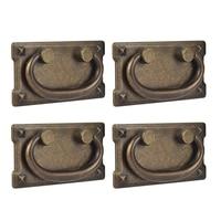 4 punhos antigos da tração do anel da gaveta do bronze do vintage dos pces  decoração do punho da mobília da porta do armário|Puxadores de armário| |  -