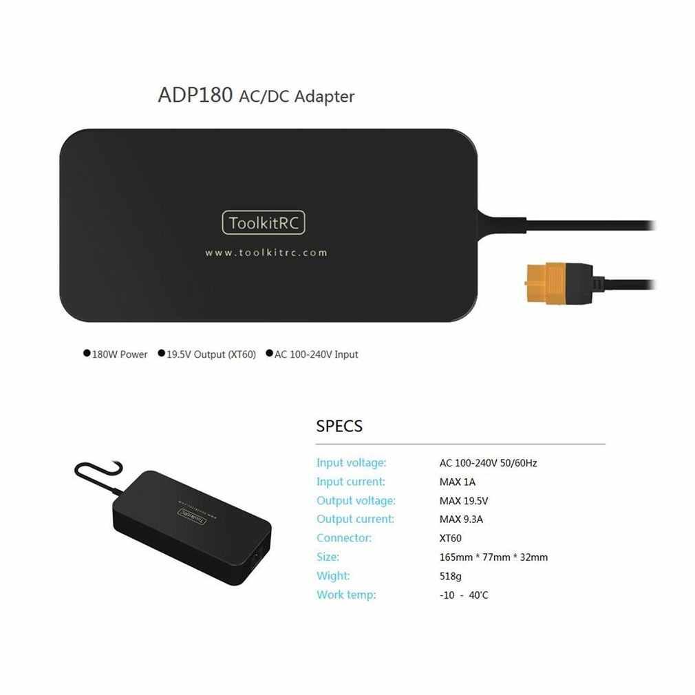 ToolKitRC ADP-180MB 180W 19.5V 9.23A Batterij Voeding Adapter voor RC Drone Model Batterij Balance Charger Met XT60 uitgang