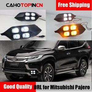 4 olhos super brilho acessórios do carro abs 12v led daytime running luz drl lâmpada para mitsubishi pajero esporte 2016 2017