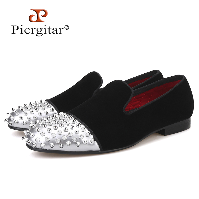 Piergitar/Мужская бархатная обувь ручной работы из лакированной кожи с заклепками, вечерние мужские повседневные лоферы, мужские тапочки для ку...
