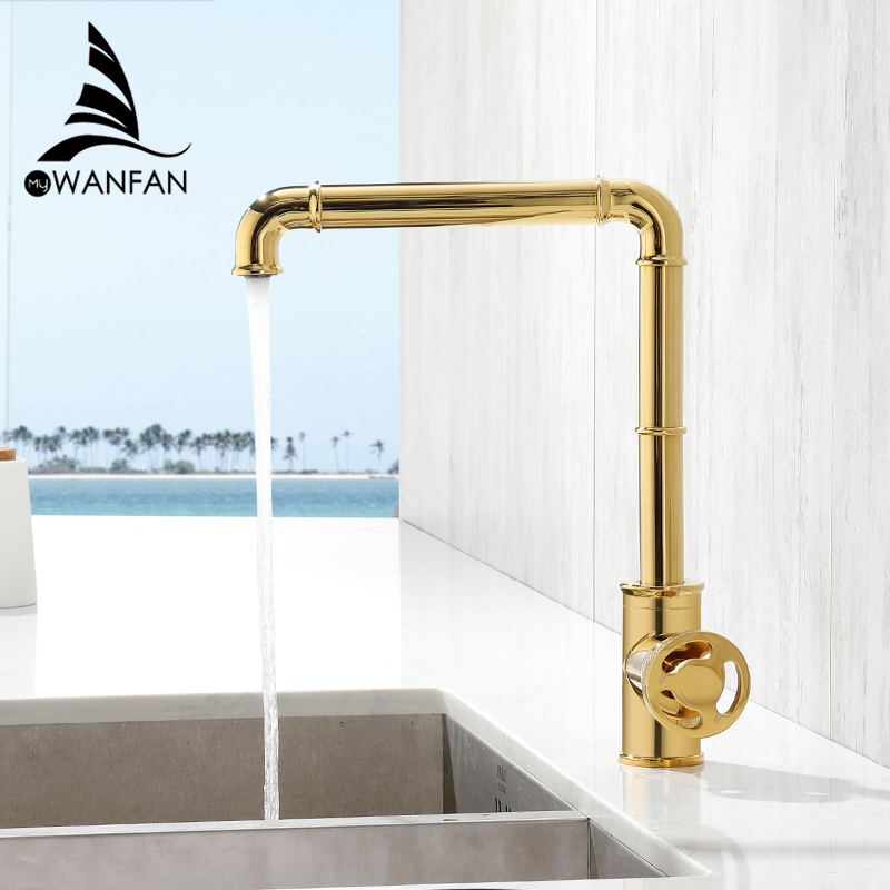 Kitchen Faucets Retro Industrial Style Matte Black  Brass Crane Bathroom Faucets Hot And Cold Water Mixer Tap Torneira WF-20B05K