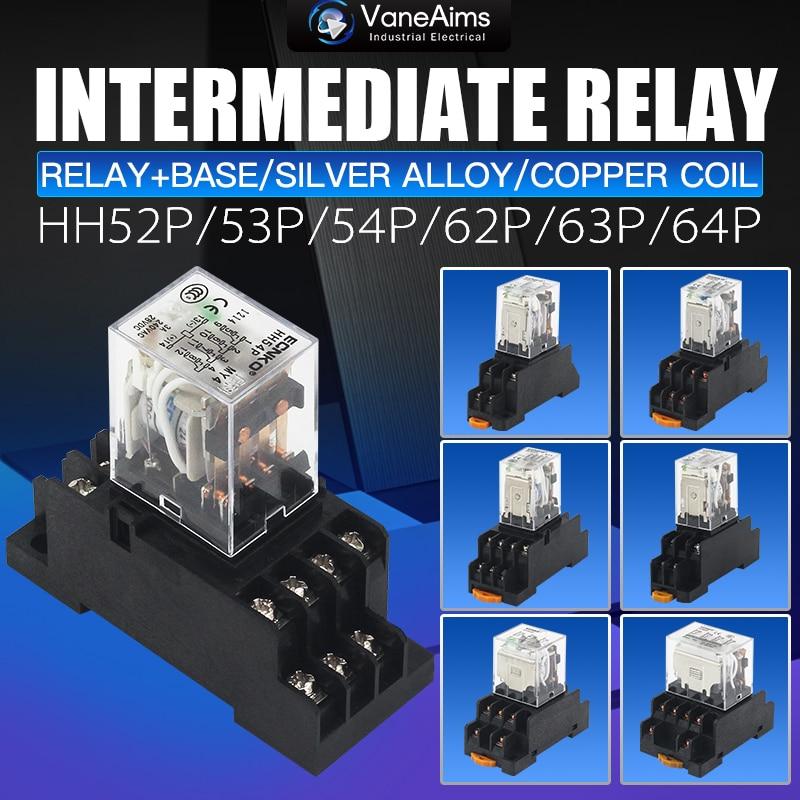 Электромагнитная катушка общего DPDT реле мощности 10A DPDT 8 контактов HH62P HH63P HH64P DC12V 24V AC220V миниатюрное реле и база большой мощности