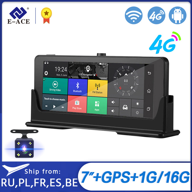 E-ACE Car DVRs 4G GPS Navigation Android Camara 7.0 Inch Rearview Mirror FHD 1080P Video Recorder Wifi Bluetooth Auto Dashcam