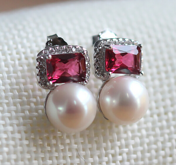 Boucles d'oreilles en perles d'eau douce 8-9mm cercle/oblate rouge