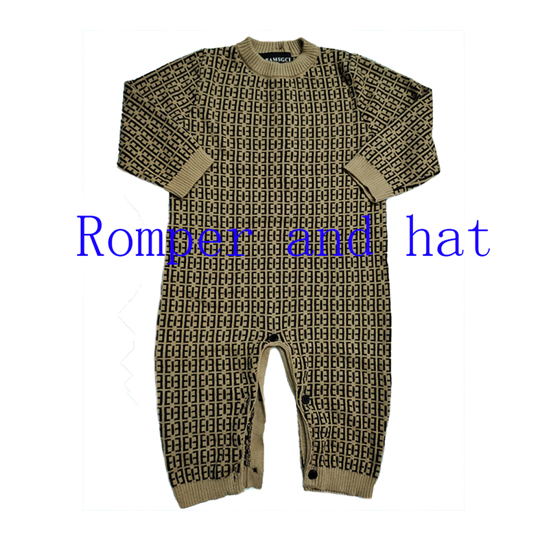 New fashion winter newborn baby clothes warm knit sweater Long sleeve cotton toddler cardigan Baby boy girls Romper and hat set