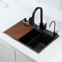 Preto único pia da cozinha com suporte de faca bacia de lavagem vegetal com placa corte 304 pia aço inoxidável preto