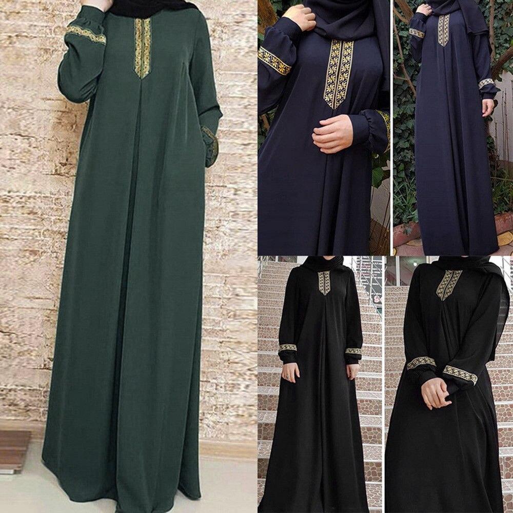 Women Plus Size Print Abaya Jilbab Muslim Maxi Dress Casual Kaftan Long Dress