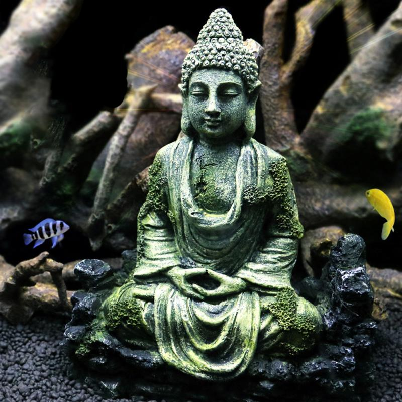 Ancient Sitting Buddha Statue Resin Simulation Fish Tank Reptiles Crafts Aquarium Decoration Home Ornament Gifts