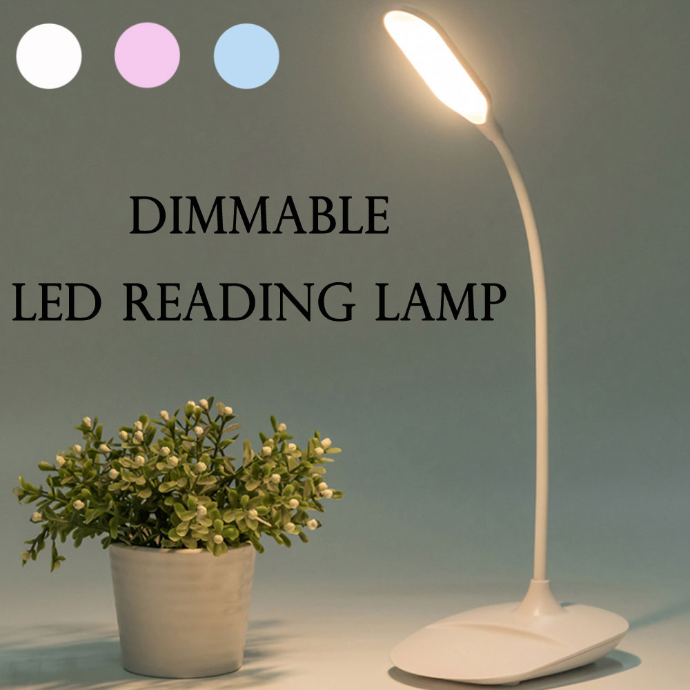 USB Reading Lamp Dimmable Touch Switch And Flexible Gooseneck Book Light Bedside Light Eye-Caring Ideal For Reading, Studying