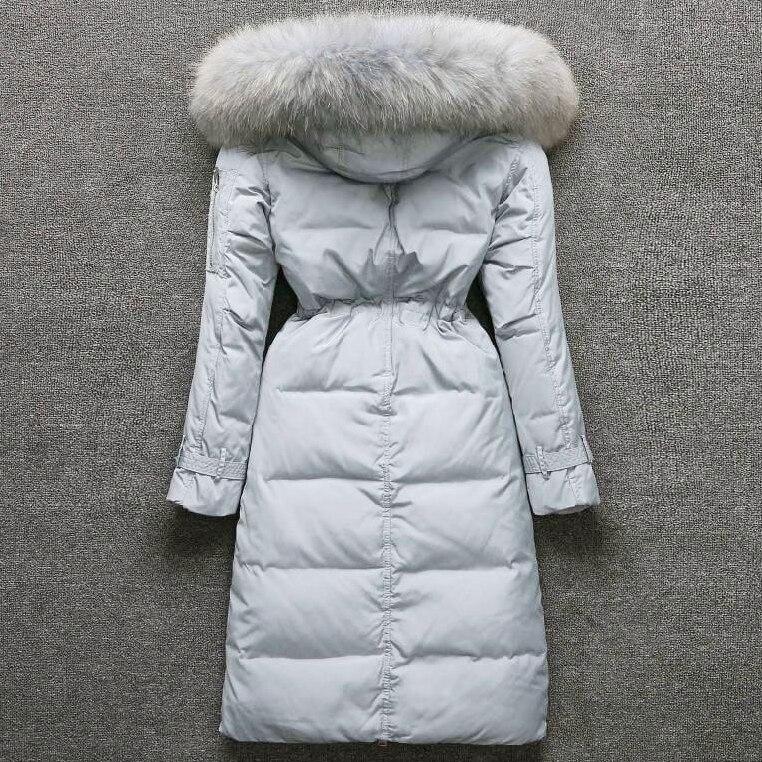 Duck Winter Down Jacket Women Big Real Fur Collar Black Down Coats Women Parkas Thick Long Coat Casacas Para Mujer KJ432