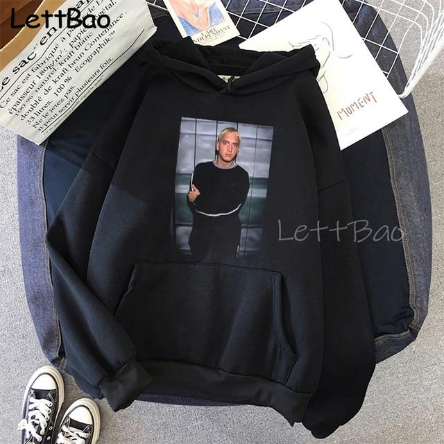 Eminem Cool Black Unisex Hoodies Sweatshirt Hip Hop Rap Punk Style Tops Pullover HipHop Rock Gothic Winter Coat Women Men Hoodie 4