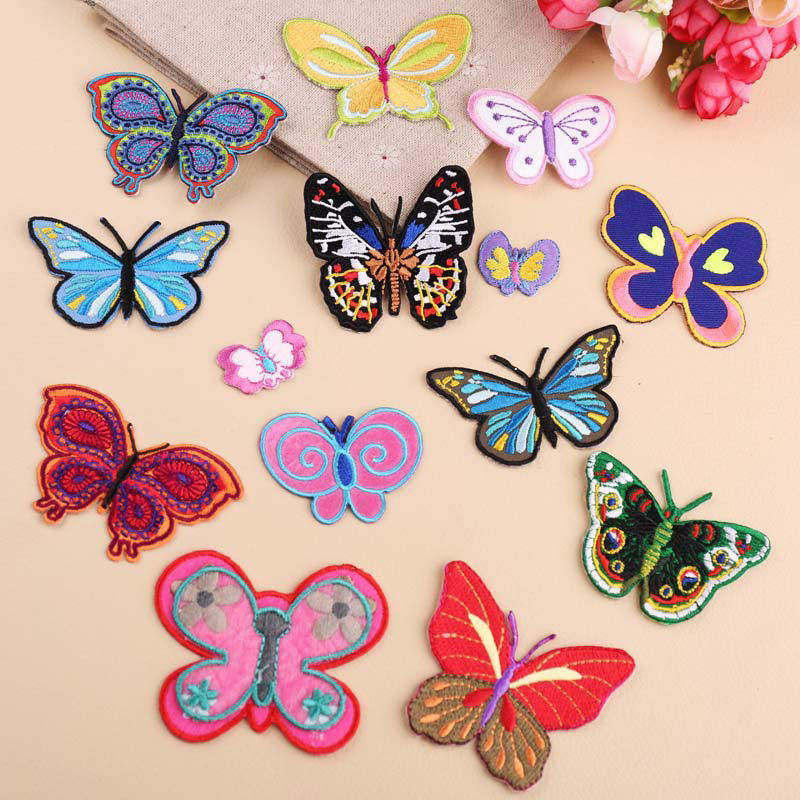 1Pcs  Iron On Patches For Clothing Multicolor Butterfly Embroidery Patch Appliques Badge Stickers For Clothes Accessories