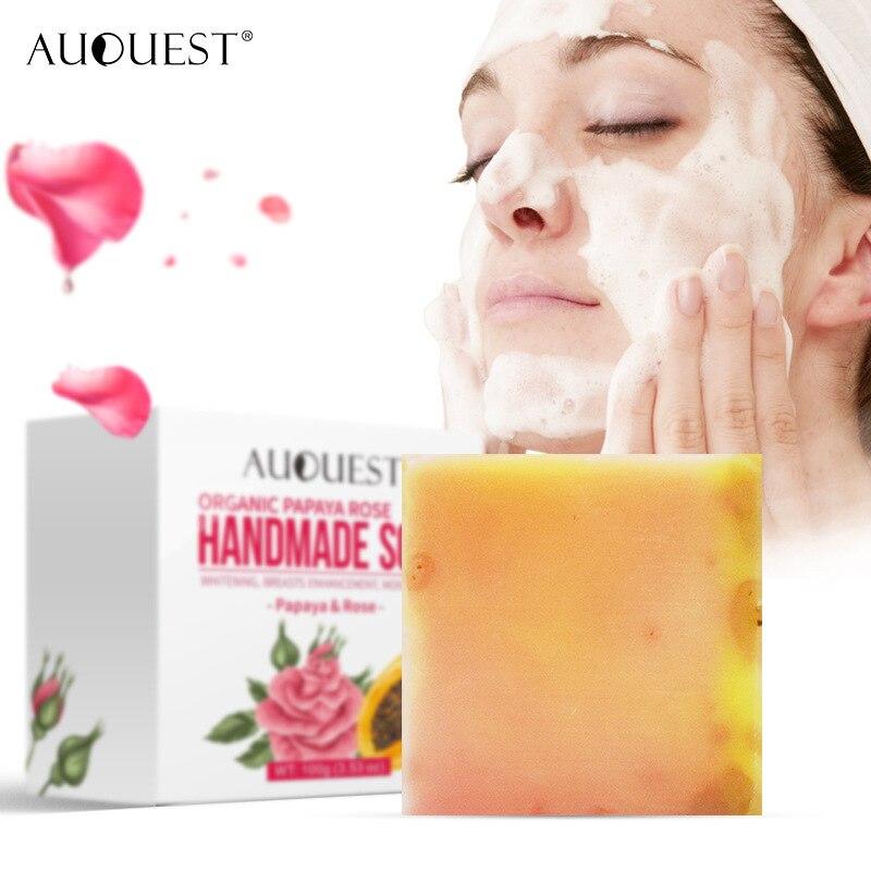 Natural AuQuest Organic Papaya Rose Handmade Soap Skin Firming Vitamin Whitening Moisturizing Body Face Cleanser Skin Care TSLM2