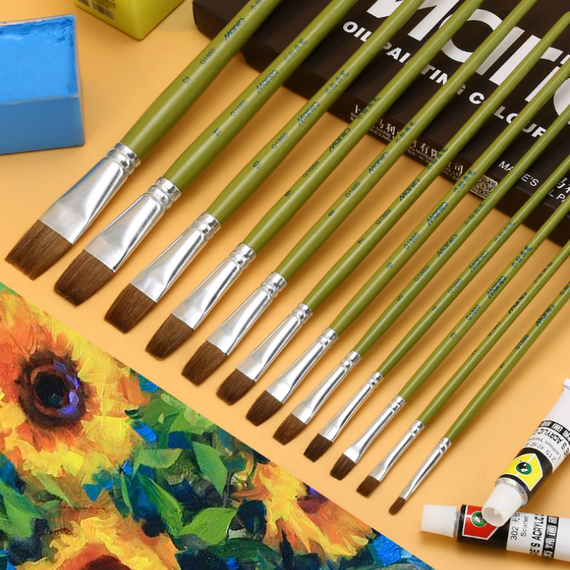 1/6pcs Flat Paint Brushes 12 Sizes Oil Painting Gouache Brush Oil Acrylic Painting Nylon Animal Hair Multiple Types Art Supplies