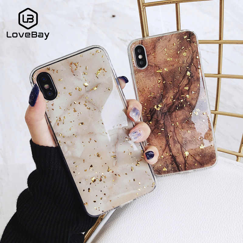 Lovebay Foil Emas Bling Marmer untuk iPhone 11 Pro Max X XS Max XR Phone Case Soft TPU Cover untuk iPhone 7 8 6 6 S Plus Glitter Case
