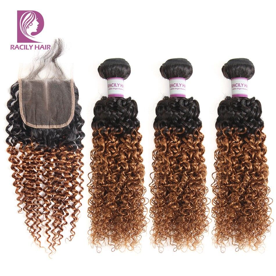 Racily 髪 1B/30 ペルー変態縮毛人間の髪のバンドル閉鎖ブラウンオンブルバンドルとレースの閉鎖レミー延長  グループ上の ヘアエクステンション & ウィッグ からの 3/4 バンドル留め具付き の中 1