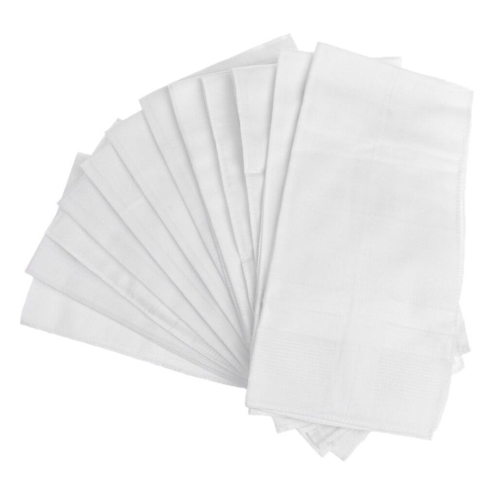 12PCS White Handkerchief Soft Washable Women Men Square Hanky 100% COTTON