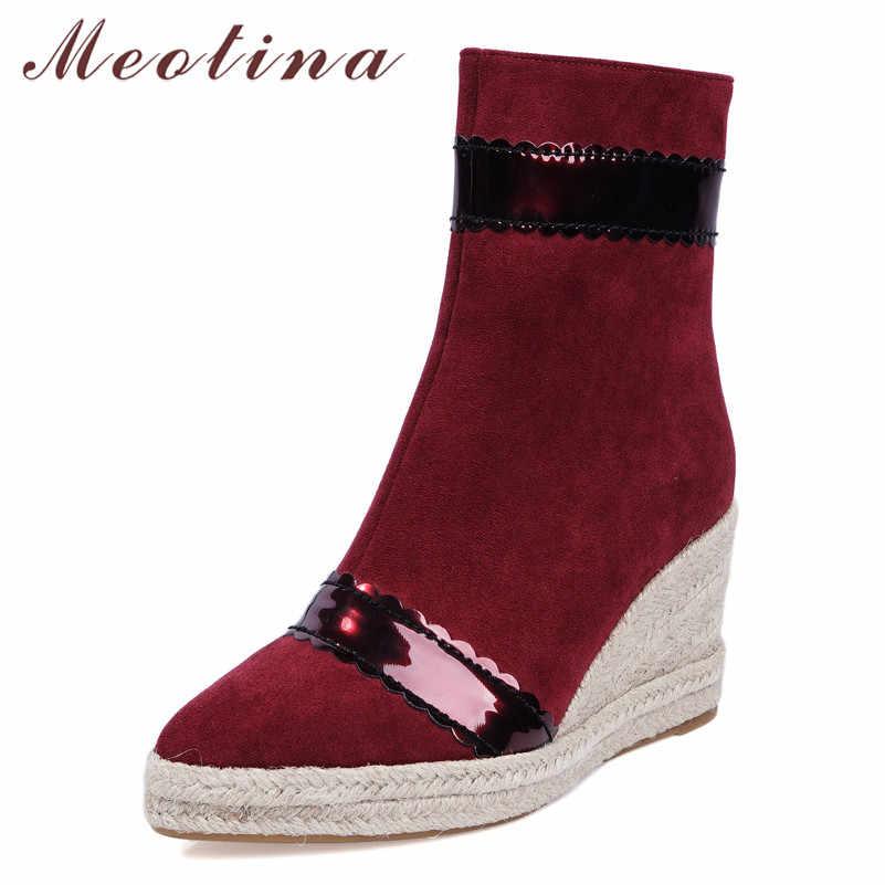 Meotina Kış yarım çizmeler Kadın Fermuar Platformu Takozlar Topuk kısa çizmeler Karışık Renkler Süper Yüksek Topuk Ayakkabı Bayanlar Boyutu 43