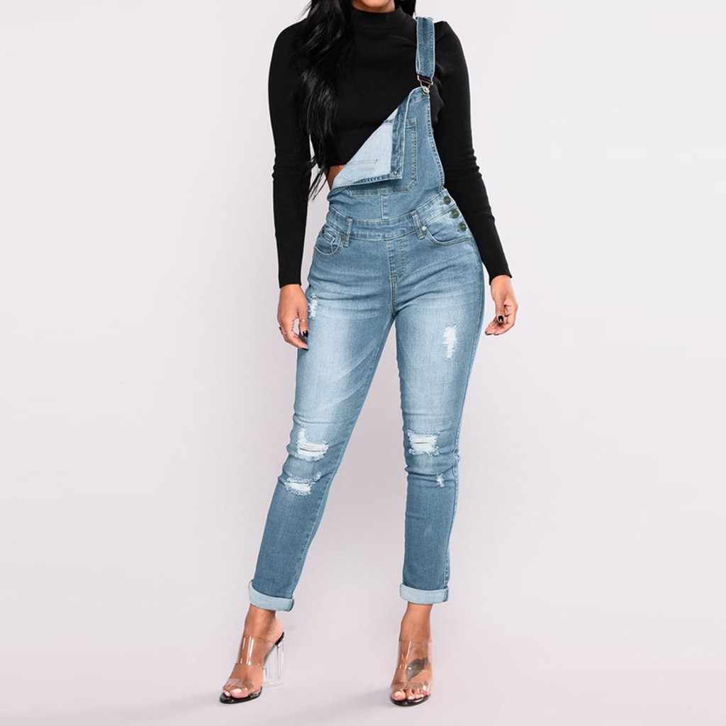 2020 New Spring Women Overalls Cool Denim Jumpsuit Ripped Holes Casual Jeans Sleeveless Jumpsuits Hollow Out Rompers 3XL