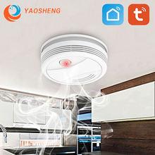 Датчик дыма tuya с wi fi портативная система пожарной сигнализации