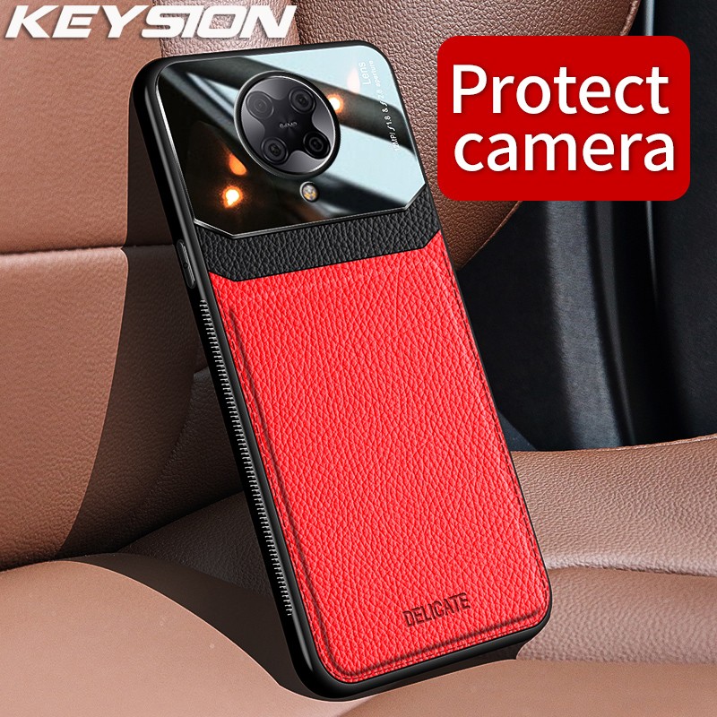 KEYSION Fashion Shockproof Case for Redmi K30 K30 Pro 5G Leather Mirror Glass Phone Back Cover for Xiaomi Pocophone X2 F2 Pro