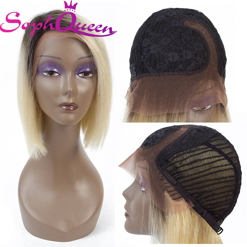 Soph Queen Straight 1B 613 Blonde Lace Part Human Hair Wigs For Women Peruvian Remy Ombre Short Bob Wig Pre Plucked