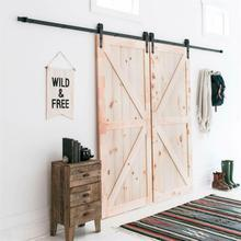 366cm Double Door Barn Door Hanging Rail For Mechanism Furniture Remission Accessories Sliding Rail Barn Wood Door Hardware HWC