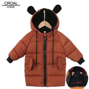 Image 1 - CROAL CHERIE chaquetas para niños, abrigo de piel para bebés niñas, abrigos de invierno, ropa de lana para niñas, Parkas de invierno con orejas de oso