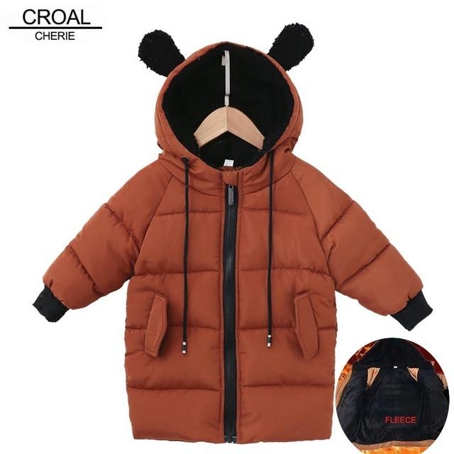 CROAL CHERIE chaquetas para niños, abrigo de piel para bebés niñas, abrigos de invierno, ropa de lana para niñas, Parkas de invierno con orejas de oso