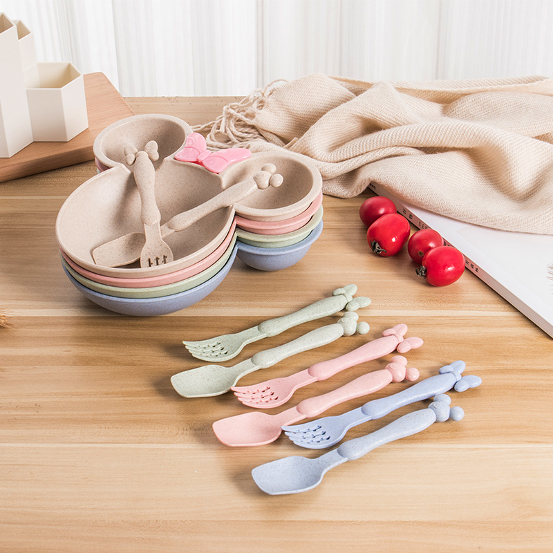 Natural Wheat Straw Bowl Baby Cartoon Tableware Set Toddler Kids Dinner Feeding Food Plate Children Training Bowl Spoon Fork