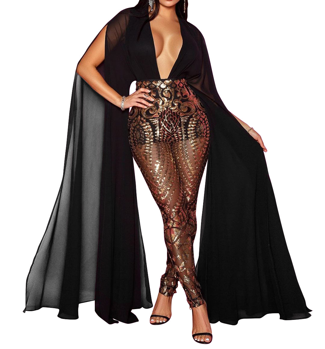 Sexy Black Champagne Glitter Jumpsuits Sheer Plunge Mesh Insert Sequins Jumpsuit