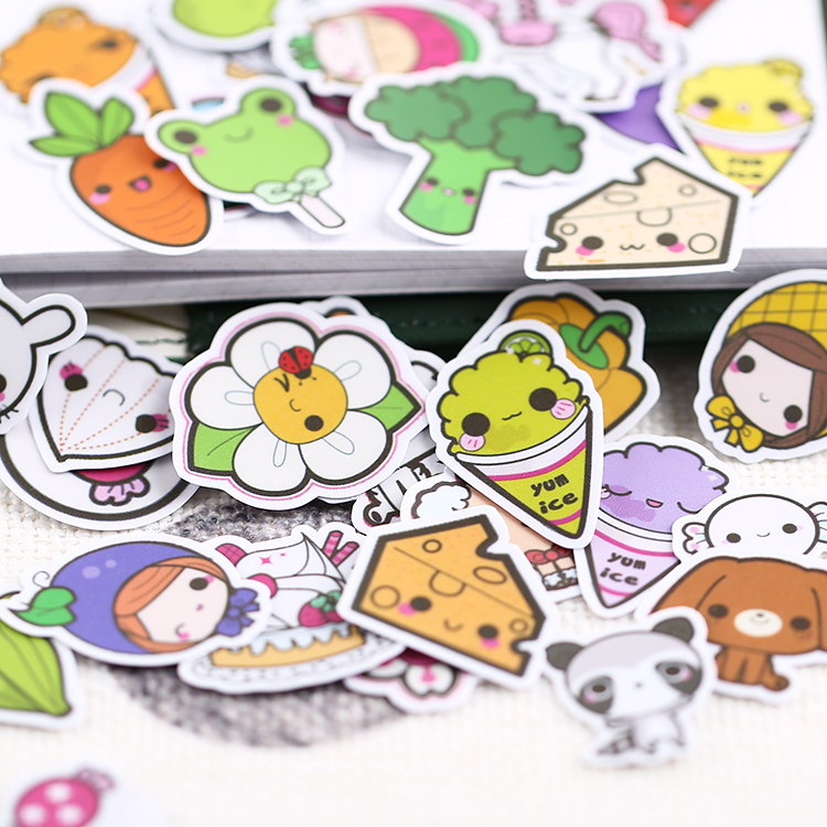 50PCS Cute Vegetable Expression Mini Paper Stickers Crafts And Scrapbooking Stickers Book Decorative Sticker DIY Stationery