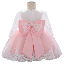 Baby Girl Dresses Party and Wedding Newborn Girl Long Sleeve Lace Dresses With Big Bow Infant Girl 1st Birthday Princess Dress