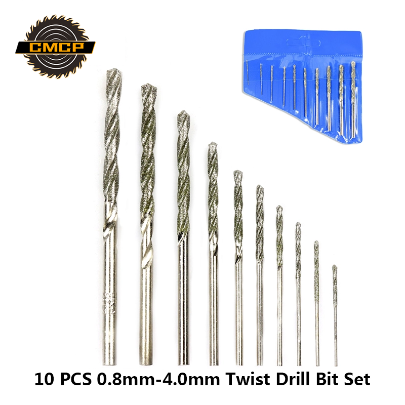 Free Shipping 10pcs Diamond Coated Twist Drill Bit Set 0.8mm-4.0mm Drill Bit For Glass Tile Stone Tipped Hole Drill Bit
