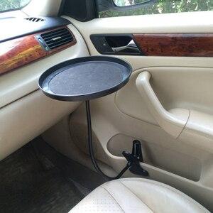 Image 2 - Araba yiyecek tepsisi kelepçe braketi katlanır yemek masası içecek tutucu araba palet arka koltuk su araba bardak tutucu araba döner tepsi