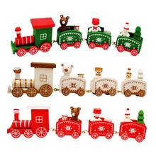 New year Gift Christmas Train Painted Wood Christmas Decoration for Home with Santa/bear Xmas kid toys gift ornament navidad(China)