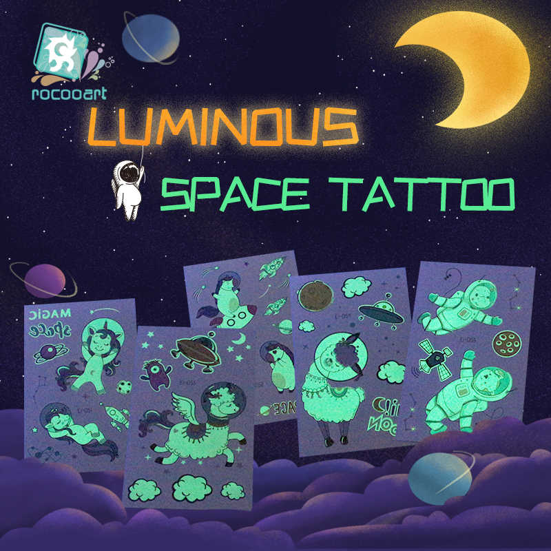 Rocooart Space Man tatuaż dla dzieci świecące ciemne Taty wodoodporny sztuczny tatuaż Luminous naklejki z tatuażami tatuaże do ciała Cartoon Tatto